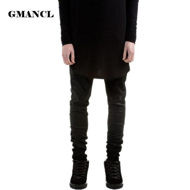 bbe25d0bae Nuevos pantalones vaqueros ajustados negros de moda para hombre ...