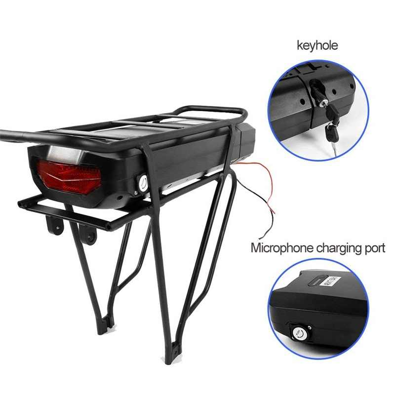 Electric Bicycle 48V 17.5Ah Rear Rack Battery Pack For eBike with Luggage Hanger Taillight USB Port US/EU/AU/UK E Bike Charger