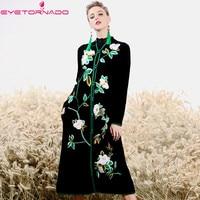 Китайский стиль Роскошная Цветочная вышивка вязаный свитер кардиган норки кашемировое пальто Зимние Повседневные толстые теплые шерстяно