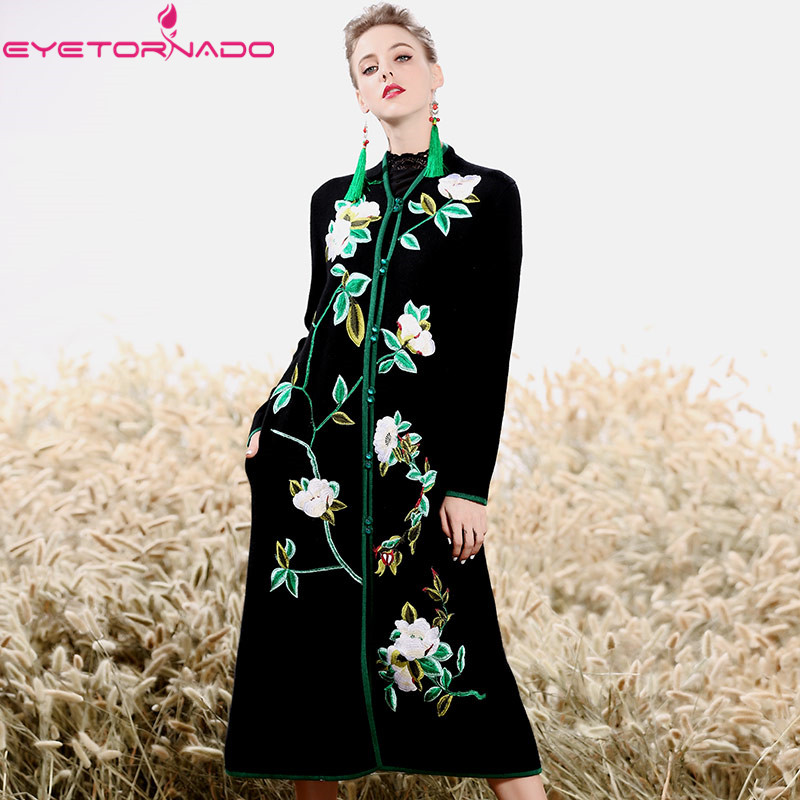 Китайский стиль роскошный цветок вышивка вязаный свитер кардиган норки кашемировое пальто на зиму повседневное толстые теплые шерстяные п
