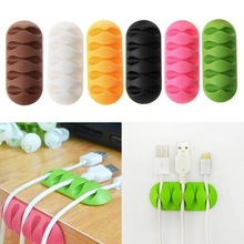 2019 Random Color New Arrival 1Pc Cable Winder Earphone Cable Organizer Wire Storage Silicon Charger Holder Clips Cable Winder