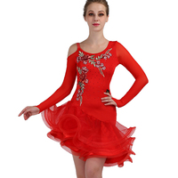 Red latin dance competition dresses tango latin dress woman girls dancewear latin dance costumes woman girls
