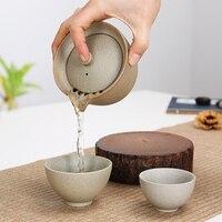 1pot 2cups Office Travel Portable Ceramic Tea Set Chinese Kung Fu Tea Set Purple Sand Gaiwan Teapot Quick Cups Coffee Tea Tools