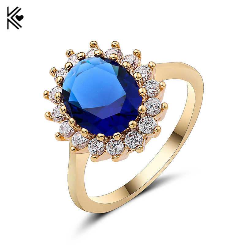 New Male Female Big Round Blue/Green/Red Ring Fashion Gold Ring Vintage Wedding Rings For Men And Women Jewelry A