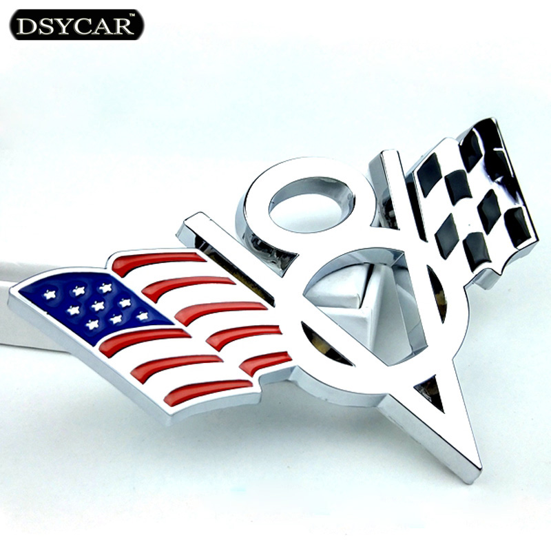 Dsycar 3D Metal V8 US Flag Moto Car Sticker Logo Emblem Badge Car Styling for Fiat Bmw Ford Lada Audi opel skoda toyota volvo VW