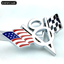 Dsycar 3D Metal V8 US Flag Moto Car Sticker Logo Emblem Badge Car Styling for Fiat Bmw Ford Lada Audi opel skoda toyota volvo VW dsycar 1 pair 3d metal turbo car sticker emblem badge for jeep bmw ford volvo nissan mazda audi vw honda toyota lada chevrolet