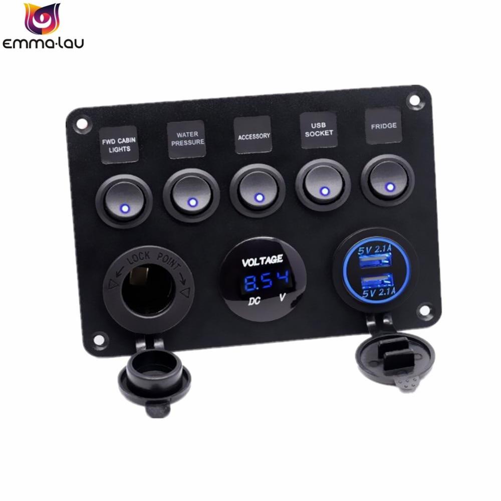 Double prise USB chargeur 2.1A + voltmètre LED + prise de courant 12 V + interrupteur à bascule marche-arrêt 5 bandes panneau multi-fonctions pour bateau de voiture