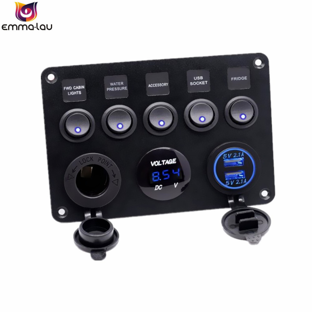 Dual USB Socket Charger 2.1A + LED Voltmeter + 12V Power Outlet + 5 Gang ON-OFF Toggle Switch Multi-Functions Panel for Car Boat