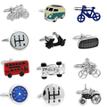 Free shipping Bus Cufflinks blue color peace car design hotsale copper material cufflinks whoelsale&retail