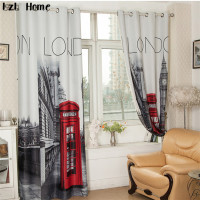 LzL Home 3D British Style Blackout Curtain Retro London Big Ben Solid Grommet Window Curtains Luxury Bedroom Drapes Valances