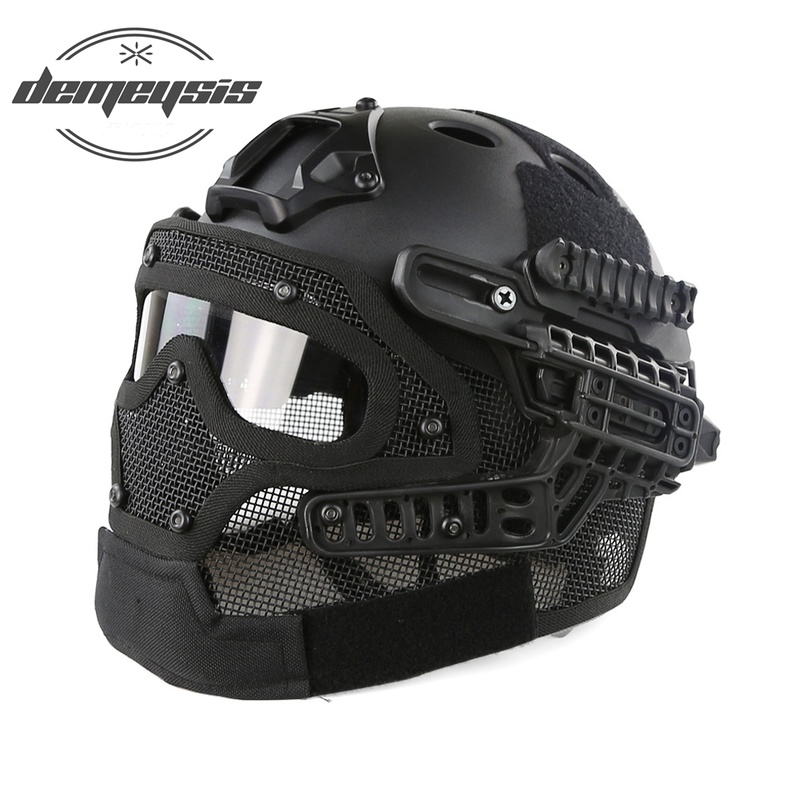 лучшая цена Full-covered Military Tactical Helmet Amry Airsoft Helmet Mask Goggle Military Hunting Paintball Shooting Helmet Head Protector