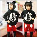 Niños de Dibujos Animados de Mickey Mouse Que Arropan el sistema Muchachas de Los Hoodies Largos de la Manga + Costura Harem 2 unids Niños Trajes de Bebé Juego de la ropa