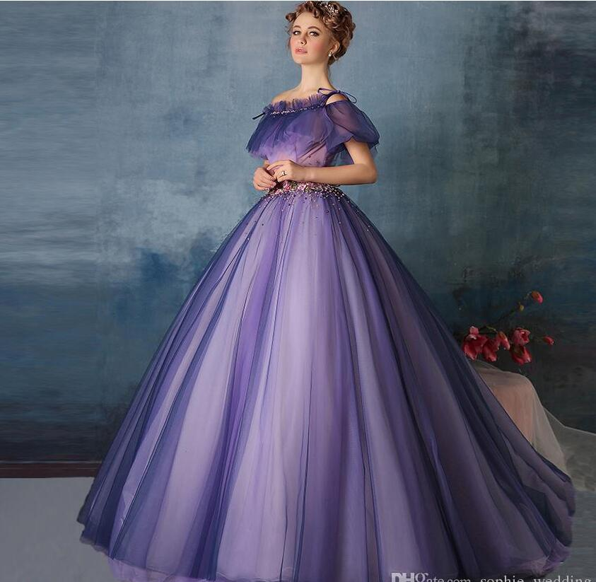 Cinderella Ball Gown Wedding Dresses: 2017 Lace Up Charming Royal Blue Princess Cinderella Ball