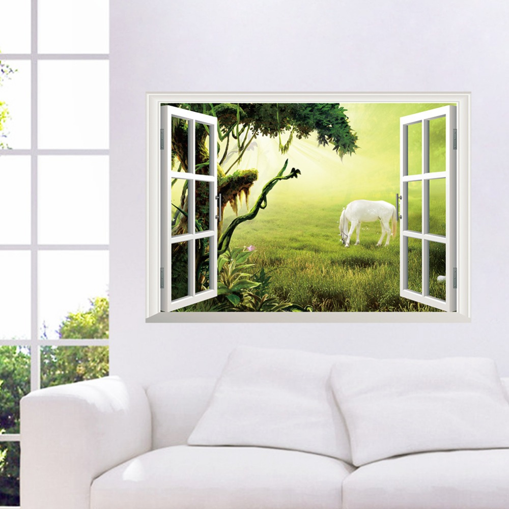 Windows View Grassland Horse Wall Stickers Decal Kids Room Living Room  Bedroom Home Decor Vinyl 3D Wallpaper Removeable osters
