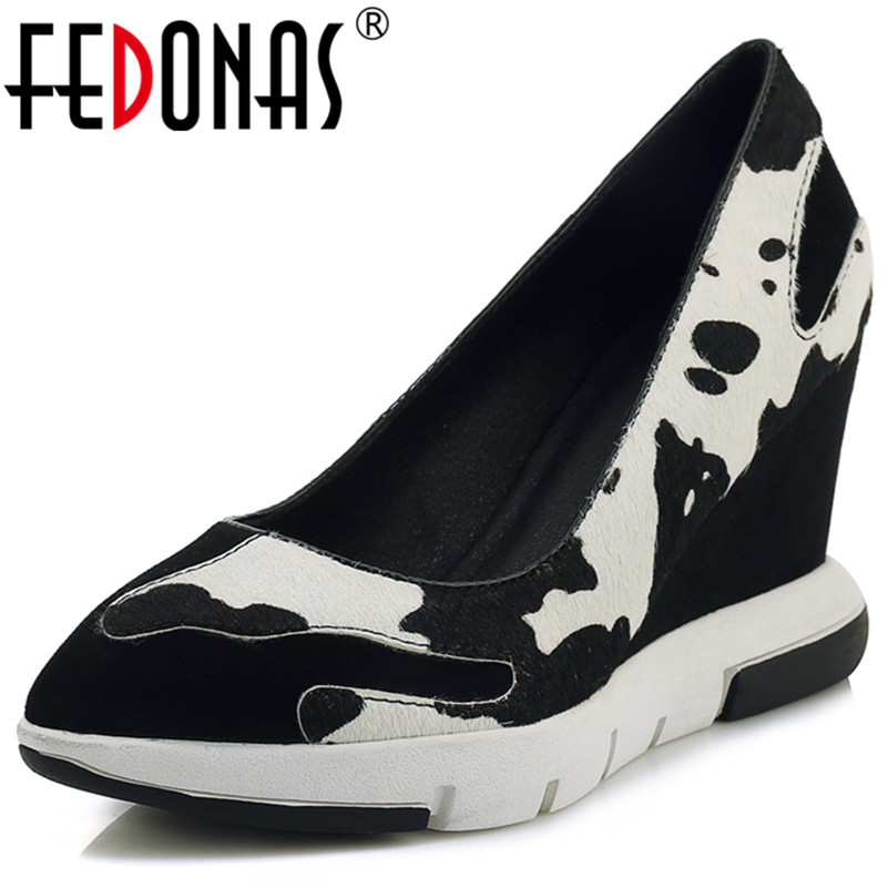 FEDONAS Fashion Wedges High Heels Pumps Women Sexy Pointed Toe Platforms Party Dancing Shoes Woman New