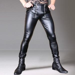 Image 2 - Fashion New Design Cool Men Elastic Faux PU Leather Pants Double Zipper Slim Long Trousers Black Male Streetwear Club Outfit