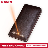 KAVIS Free Engraving Female Long Wallets Women Male Genuine Leather Womens Wallet Zipper With Interior Compartment for Name