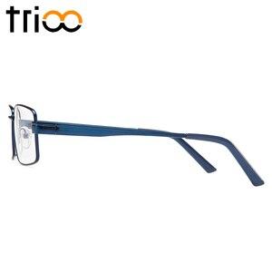 Image 4 - TRIOO Metal Blue Reading Prescription Mens Glasses Graduate Computer Myopia Degree Eye Glasses Square Astigmatism Spectacles
