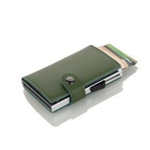 Wholesale New Genuine Leather Card Id Holders Metal Holder Aluminium Credit With RFID Blocking Mini Wallet