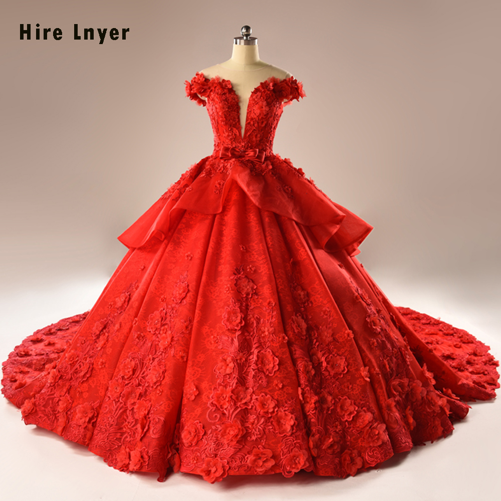 HIRE LNYER 2019 New Arrive Short Sleeve Beading Appliques Lace Flowers Princess Ball Gown Wedding Dresses