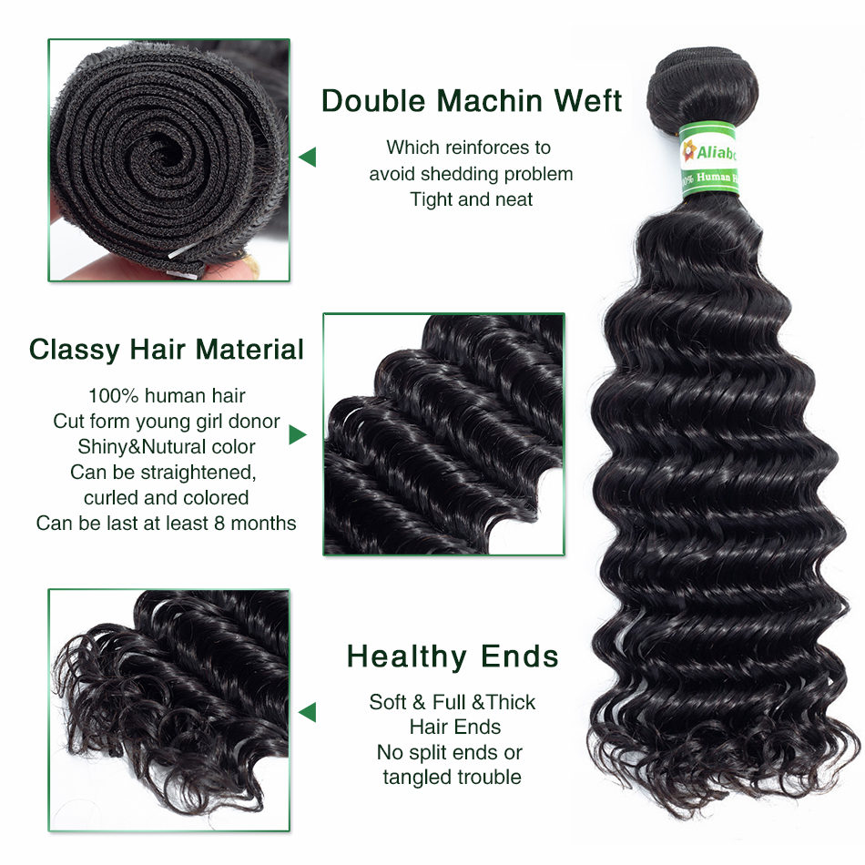 Aliabc Brazilian Deep Wave Human Hair Weave 3 Bundles With 4X4 Lace Closure Natural Color Non remy Hair Extensions Free Shipping-in 3/4 Bundles with Closure from Hair Extensions & Wigs    2