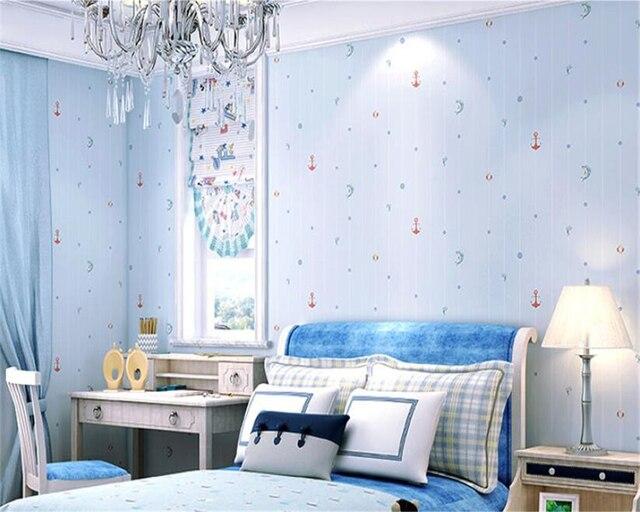 Beibehang oceaan zeilen jongen en meisje kamer achtergrond muur