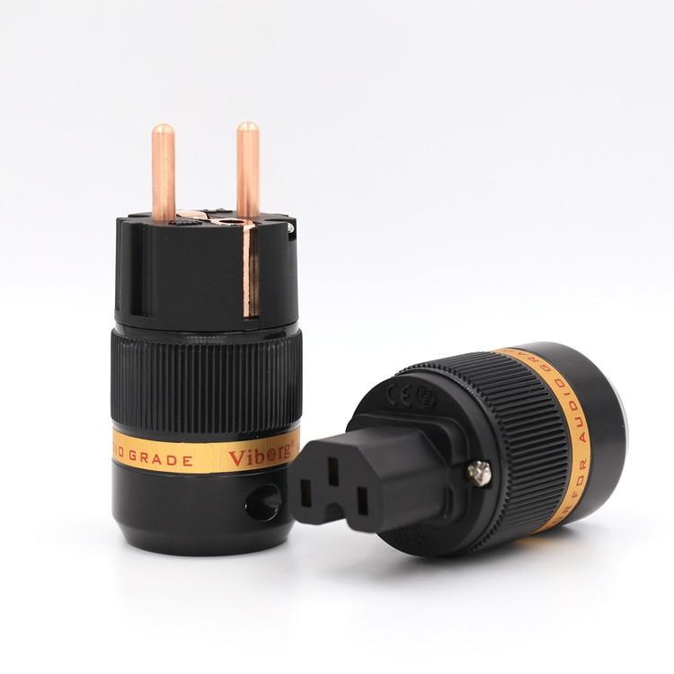 Viborg VE501+VF501 Pure Copper Schuko Power Plug Connector +IEC Female Connector Plug HIFI kupo vf 01