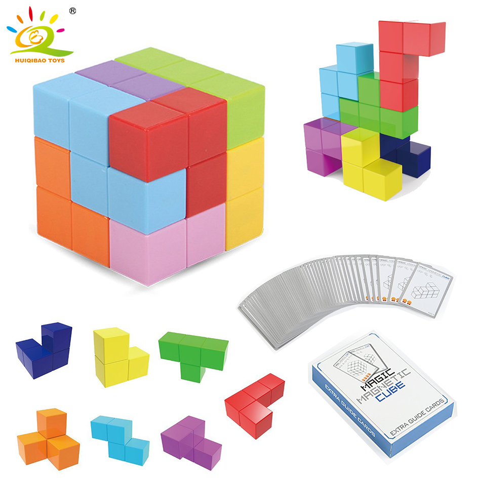 Magnetic Magic Cube Creative DIY Blocks Technic Plastic Building Blocks Strong Magnetic Puzzle Designer Interactive Toy For Kid
