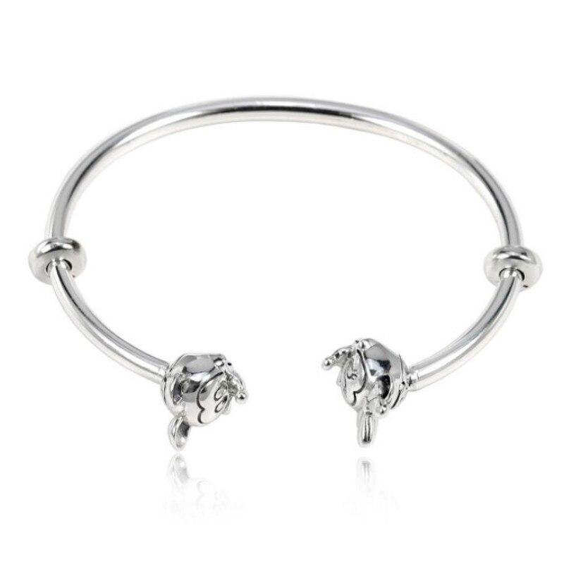 925 bijoux en argent sterling femme Europe et états-unis nouveau bracelet de base bijoux à bricoler soi-même Mickey Minnie bracelet ouvert