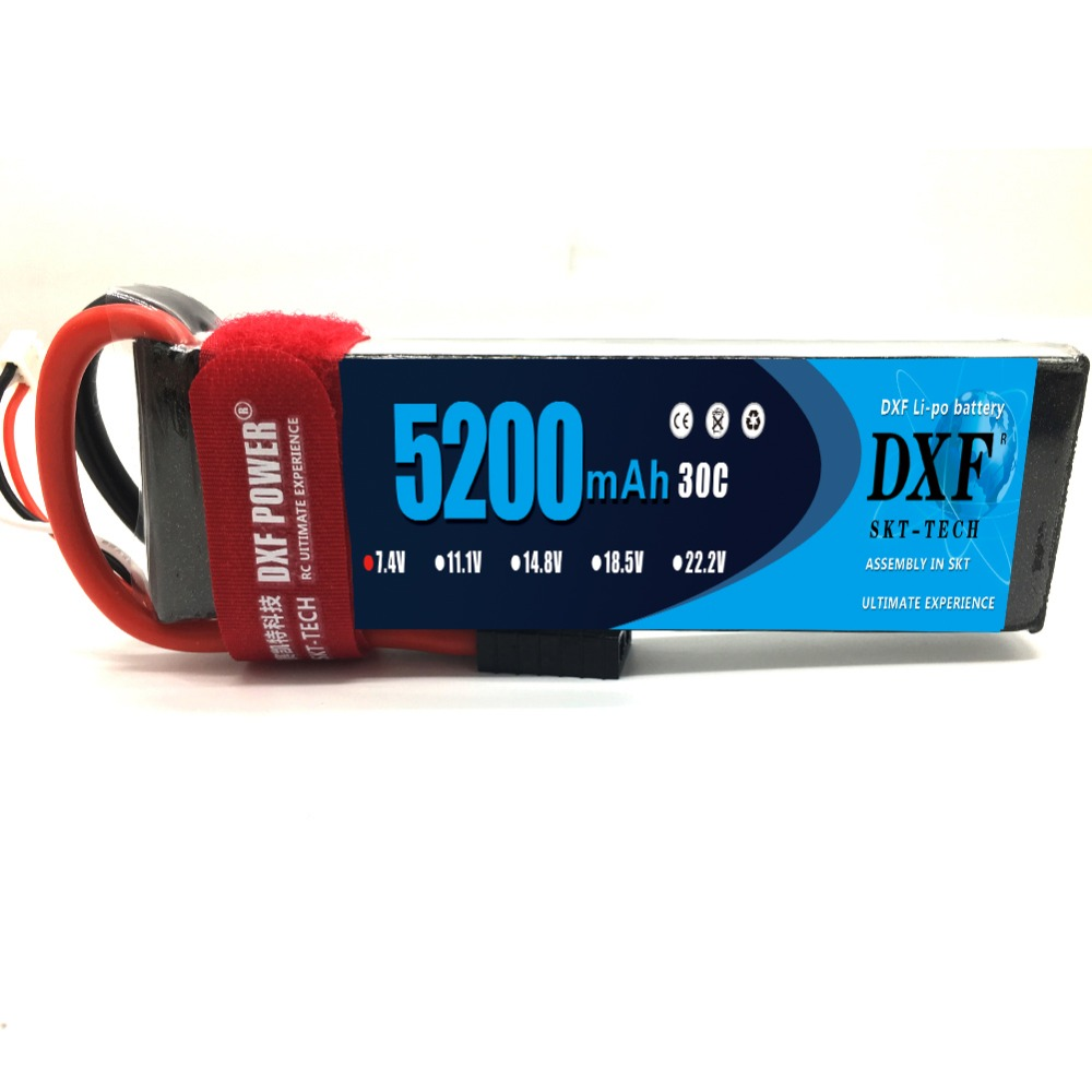 DXF <font><b>Lipo</b></font> battery <font><b>2S</b></font> 7.4V <font><b>5200MAH</b></font> 30C AKKU <font><b>LiPo</b></font> 7.4V RC Battery For Rc Helicopter Quadcopter Drone RC Car Boat image