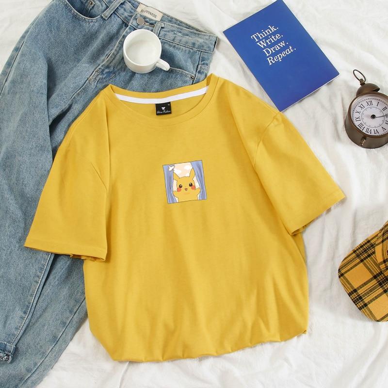Men's T Shirt Funny Pika Pikachu Printed Women Harajuku Tshirt Summer Pastel Colors Pokemon Gaming Tee Size S-4XL 10 Colors