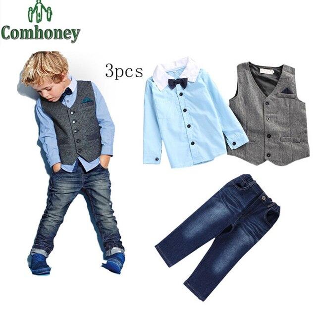 Baby Boys Clothing Set Bow-Tie Shirt+Vest+Jeans 3 pcs Fashion Toddle Denim Pants Gentleman Child Wedding Party Suit Kids Clothes