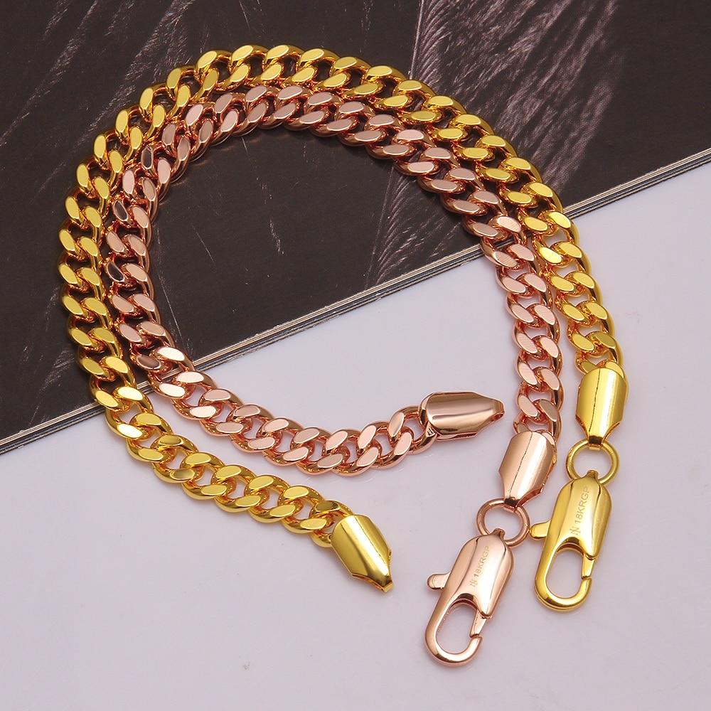 Meekcat Gold Color Chain Bracelet Men Jewelry Gift Wholesale 20cm 6mm Hand  Chain & Link Bracelet