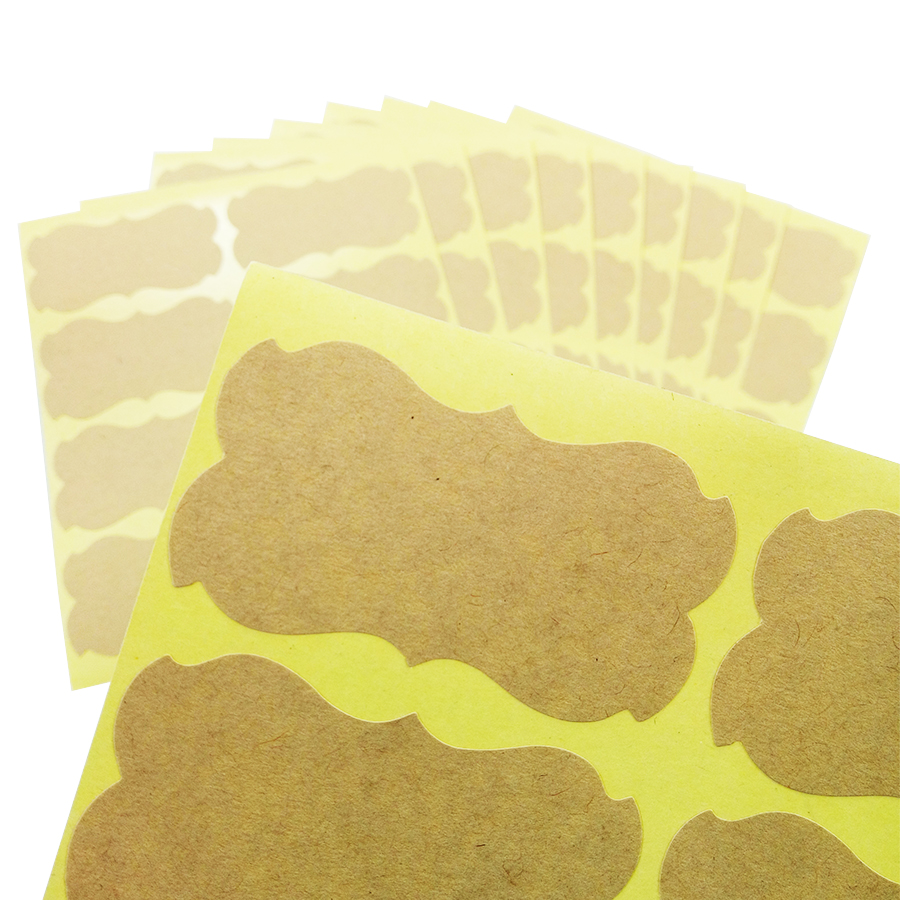 80 Pcs/lot Kraft Paper Blank Irregular Seal Sticker Paper Adhesive DIY Decoration Handmade Products Gift Package Label