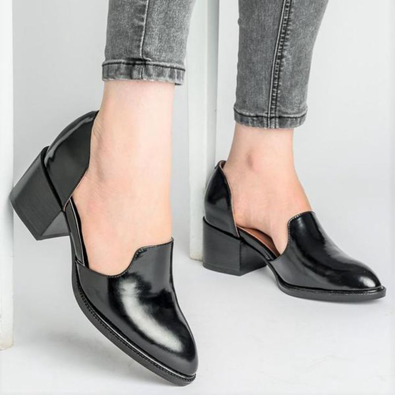 HEFLASHOR New Spring Women Shoes 2019 Loafers Patent Leather Elegant Middle Heels Slip On Footwear Female Pointed Toe Thick Heel big toe sandal