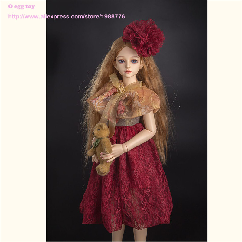 Vintage Lace Dress for 1 3 1 4 BJD doll rosy western style princess dress with