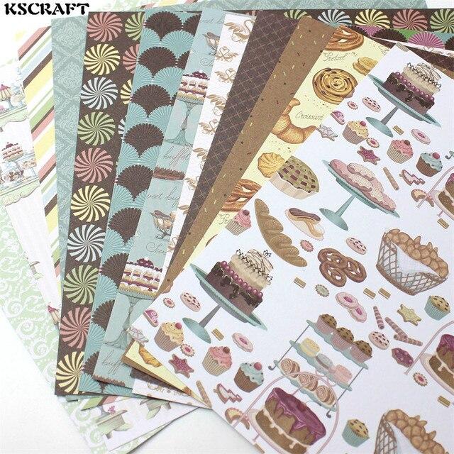 """KSCRAFT 12 개 6 """"단면 인쇄 맛있는 도넛 패턴 창조적 인 종이 공예에 아트 종이 수제 스크랩북 키트 세트 책"""