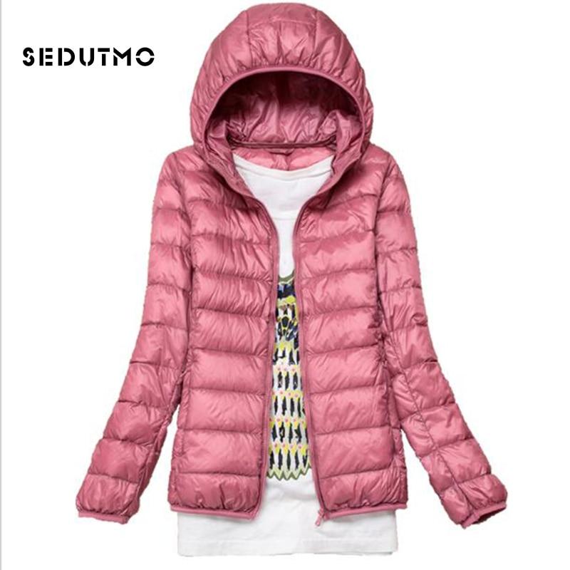b4047ec69 US $22.19 51% OFF SEDUTMO Winter Hooded Ultra Light Womens Down Jackets  Plus Size 4XL Duck Down Doat Short Slim Puffer Jacket Autumn Parkas  ED047-in ...
