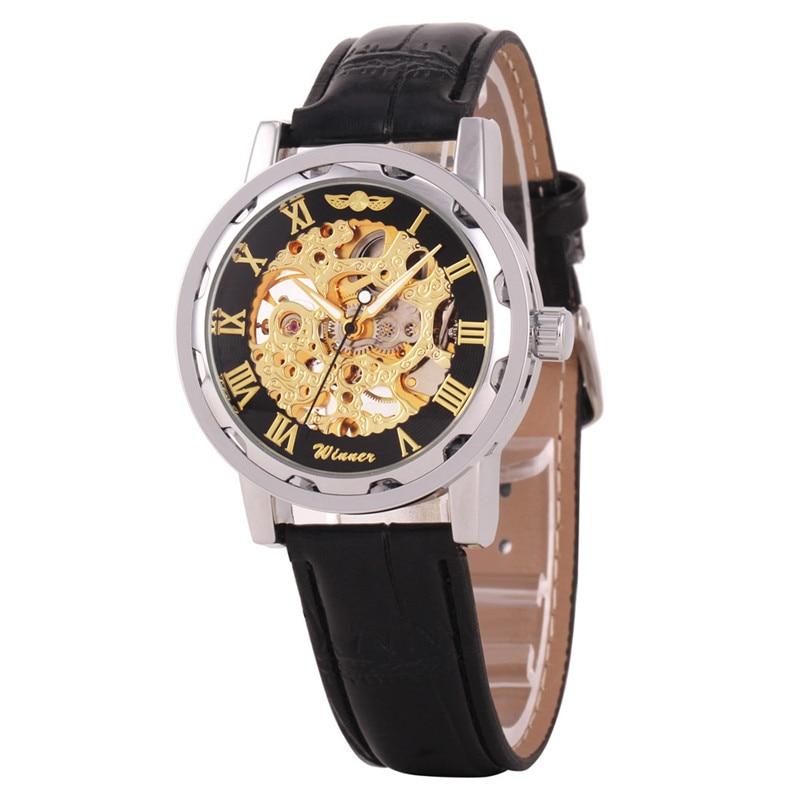 все цены на  men watch 2017 great sale Classic Men's Black Leather Dial Skeleton Mechanical Sport Army Wrist Watch relogio Reloj clock 170419  в интернете