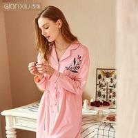Woman Cotton Nightgowns comfortable Nightdress Sleepwear Long Sleeve Spring Autumn Casual Nightwear printing Sleepshirts Shirts