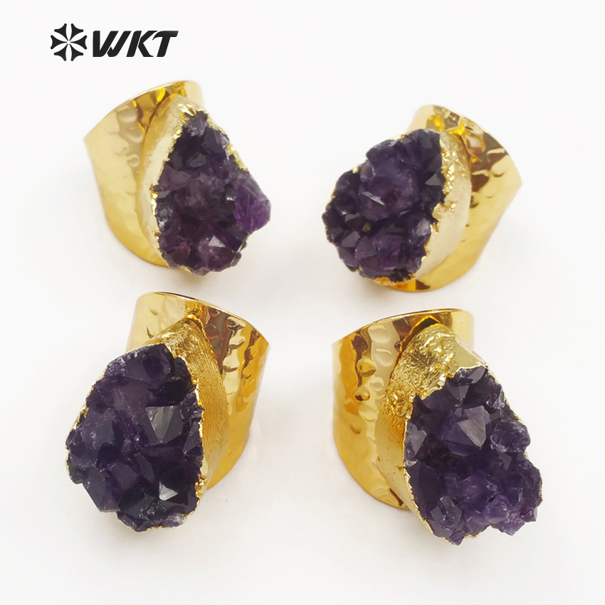 WT R102 Wholesale Special Design Custom Natural Druzy Lavender With Gold Electroplated Fashion Jewelry Making Ring