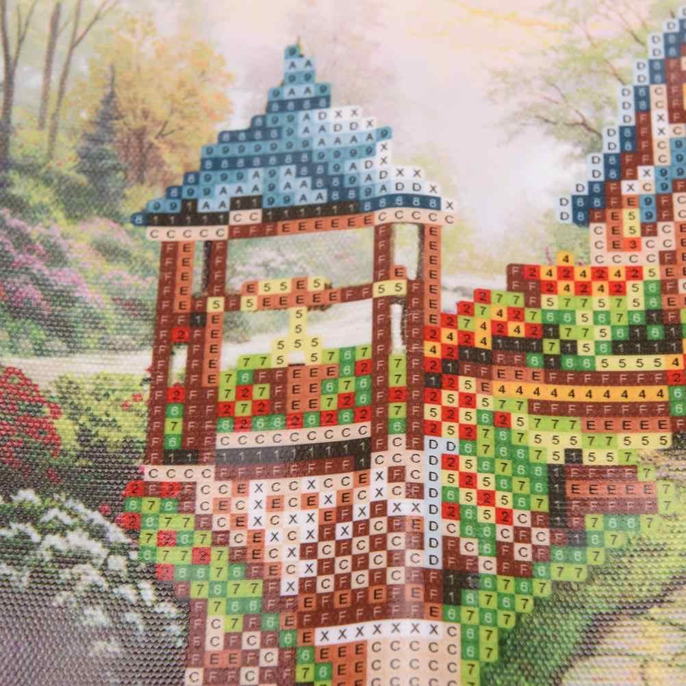 עיצוב הבית אמנות נוף כפרי עגול ריינסטון מלא 5D DIY יהלומי ציור הרקמה יהלומי רקמת צלב סטיץ