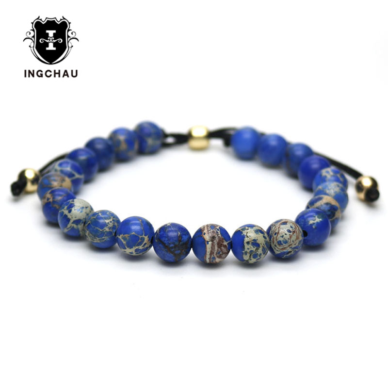 Blue Stone Beads Bracelet DIY Braiding Macrame Adjustable Bracelet For Men and Women Pul ...