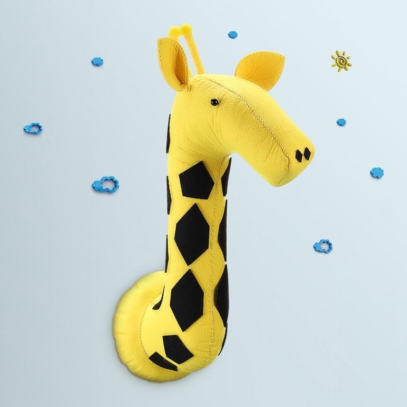 Bella Giraffa 3D Feltro Testa Degli Animali Impiccagioni Decor Opera D'arte Murali Bambini Camera Da Letto Del Bambino Regali Di Natale Parete Farcito Giocattoli