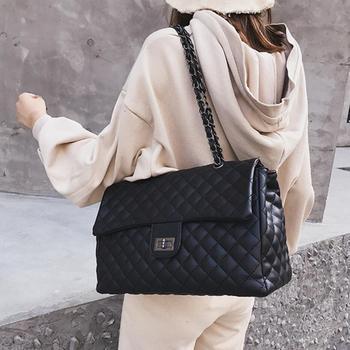 cf09e33bc706 Модные простые женские большой квадратный мешок 2018 новое качество из  искусственной кожи женская дизайнерская сумка решетки цепи плеча кур.