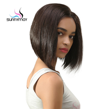 Sunnymay Peruvian Remy Short Bob Lace Front Human Hair Wigs Straight Glueless Cut Short Wig for Black Women With Baby Hair 14″