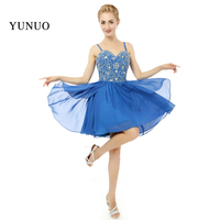 Charming Sweetheart Spaghetti Strap Stunning Beaded Blue Chiffon Short Knee Length Evening Dresses 100 Real Photos