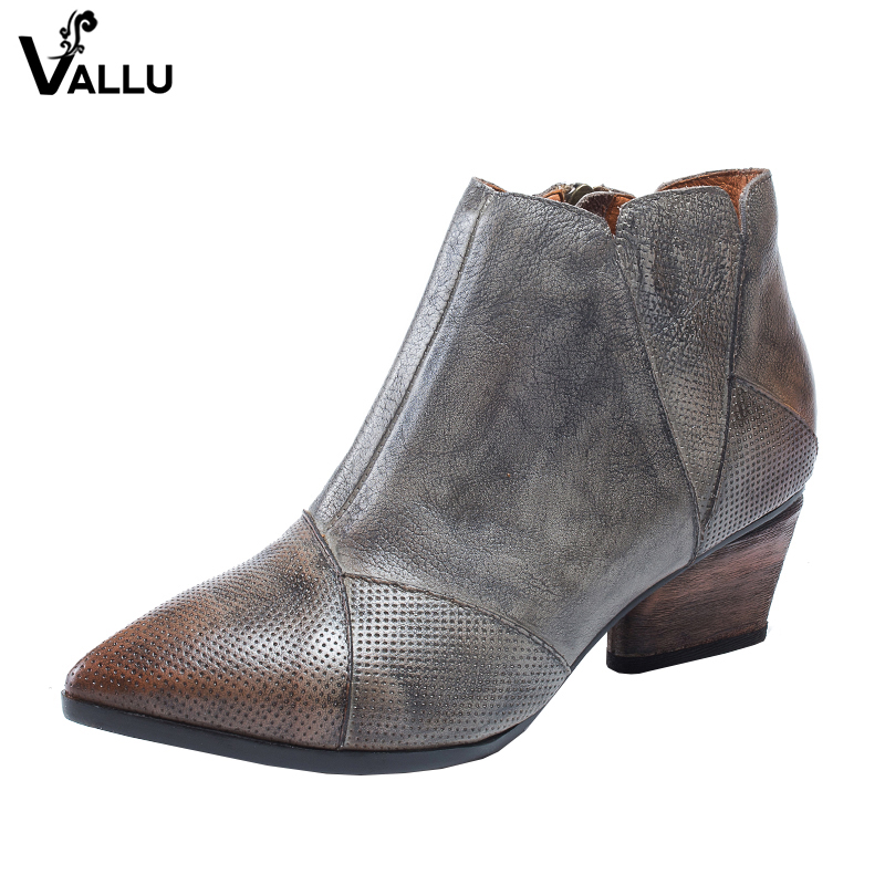 2018 VALLU Genuine Leather Women Boots Pointed Toes Zipper Handmade Vintage Women Shoes High Heel Ladies Ankle Boots xiangban handmade genuine leather women boots high heel ankle boots pointed toe vintage shoes red coffee 6208k11