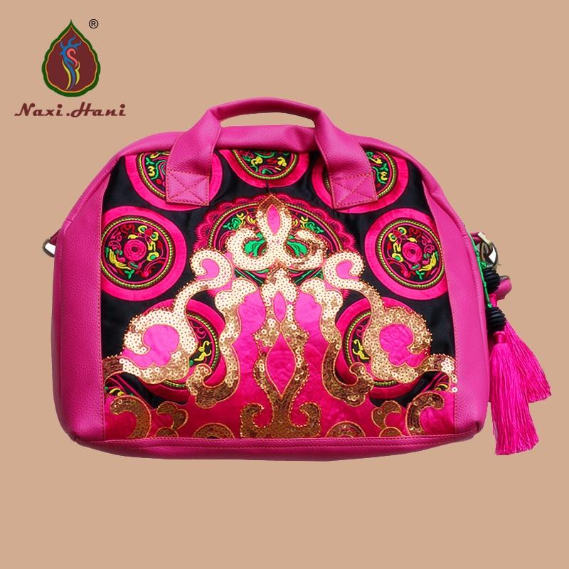 Newest Thailand Pink PU leather women handbags Haxi.Hani barnd Embroidery Ethnic shoulder messenger bags 2018 new original genuine leather women handbags shoulder portable embroidery bag ethnic style embroidery big dumplings bags