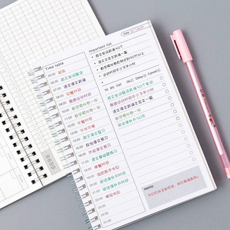Daily Weekly Monthly 2019 2020 Planner Spiral A5 Notebook Time Memo Planning Organizer Agenda School Office